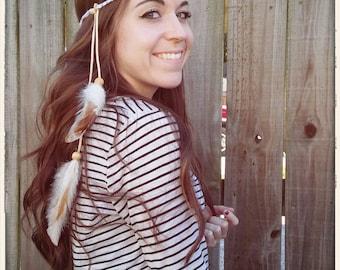 White Boho Hippie Feather Headband