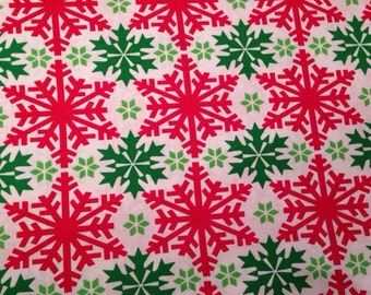 Christmas snowflake fabric by the yard - Christmas fabric by the yard - #16306
