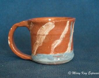Handmade Ceramic Striped Mug with handle