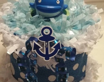 Whale Nautical Baby Shower Diaper Cake Centerpiece Birthday Decoration