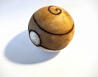 Psychic Type Wood-Burned Pokeball (solid hardwood) for the Pokemon fan