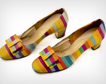60s Shoes // 1960's Striped Thai Silk Pumps with Bow Ornament // Size: 6 1/2 B