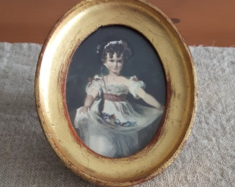 Miniature Florentia print w. gilt gesso frame // portrait of girl w. flowers, oval gold chippy, Italy, wall decor, art, painting, Florentine