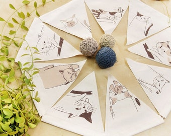 Triangle bunting flag hand print with 9 CAT ACTION