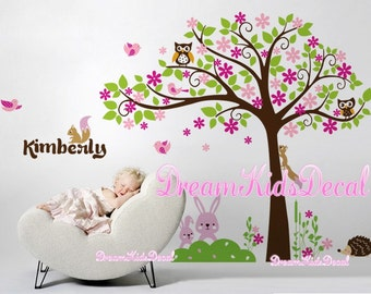Tree wall decal,  Bunny Wall Decal , Rabbit Decal, baby room decal, Happy Easter, Cherry Blossom Tree wall decals -DK148