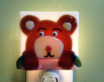Woodland Brown Bear Fused Glass At the Cabin Night Light