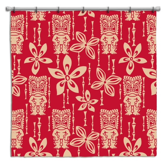 Vintage Tiki Gods Hawaiian Shower Curtain from by ...