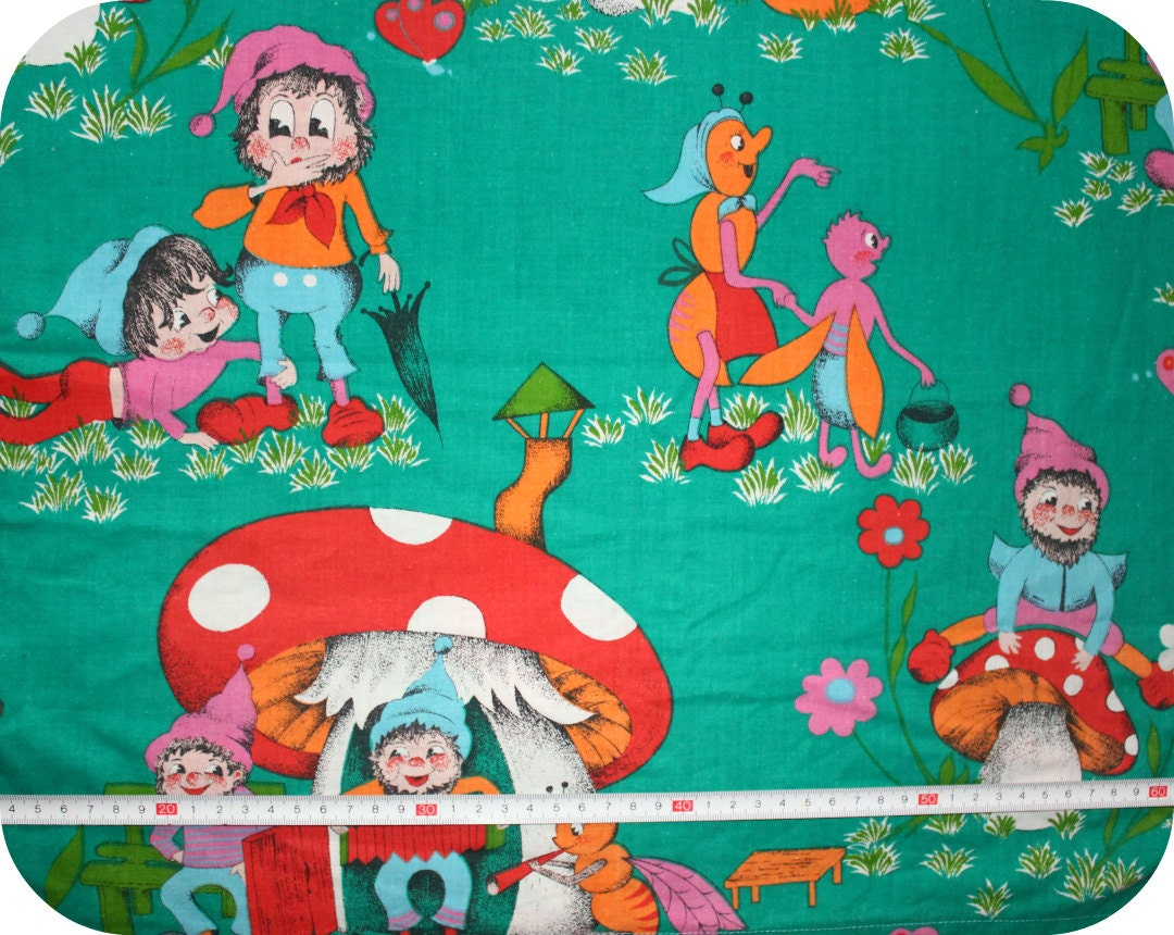 Retro vintage children 39 s fabric with gnomes and mushrooms for Retro kids fabric