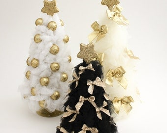 Gold Christmas Tree Tulle Christmas Tree Christmas Decorations Christmas Decor White Ivory Black Tree Gold Christmas Ornaments Holiday Decor