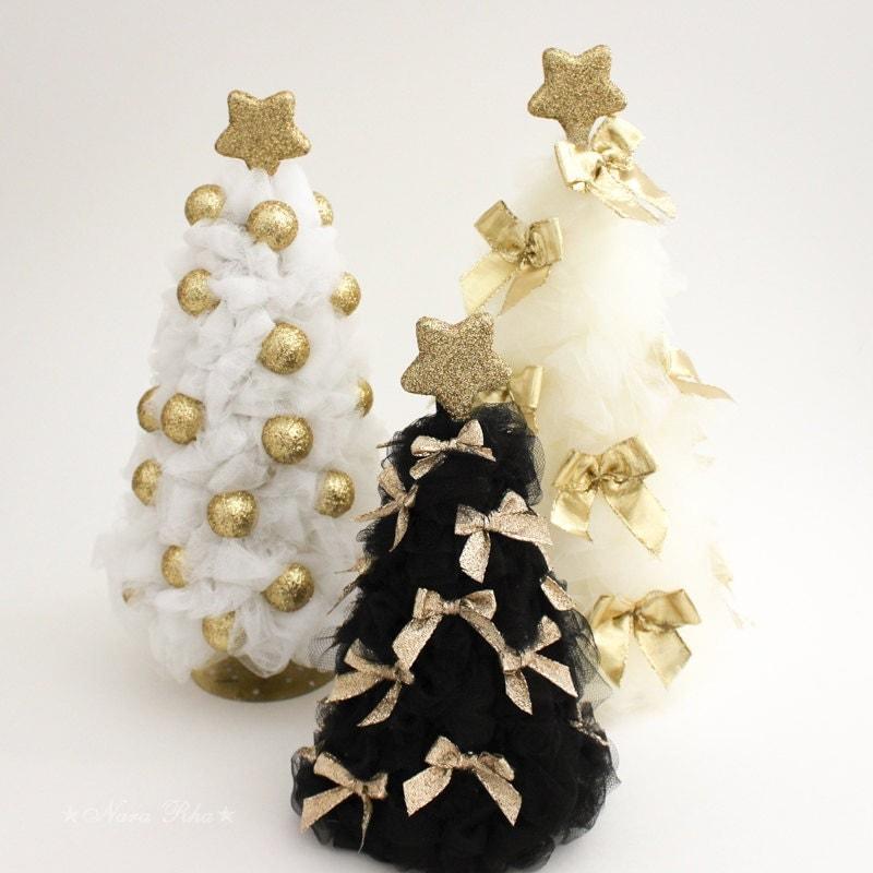 Oro rbol de navidad tul rbol de navidad decoraci n navidad - Decoracion arbol de navidad blanco ...