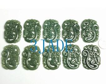 Blessing Natural Jade Nephrite Amulet/Pendant/Talisman -G012165