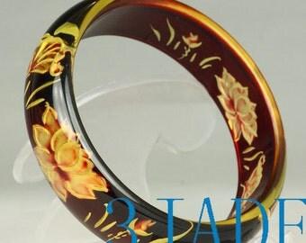60mm Inner Carved Flower Plastic Bangle Bracelet -C037009