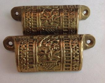 Vintage Set of 2 Brass ? Drawer Pulls Flowers in Urn Design
