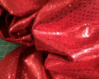 1/2 yard red Ultimate Mystique Lycra fabric yardage 58 inches wide 4 way stretch cheer bows skating dress dance swimsuit gymnastics leotard