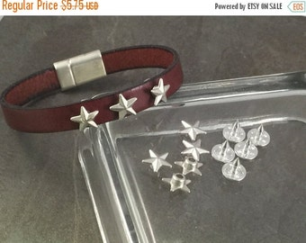 On Sale NOW 25%OFF Zamak High Quality Star Tack / Rivets For Leather Cords - Antique Silver - Z3491 Qty 5