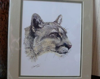 "Cougar Profile - 11""x14"" Fine Art Print - Wildlife Art - Black and Gold Pen & Ink Print by Sonara - Ready to Frame"