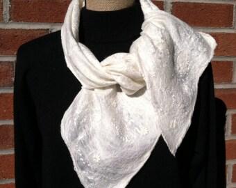 White nuno felted scarf