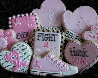 Breast Cancer Awareness Cookies, pink cookies, think pink cookies, fight like a girl,  believe cookies, Breast cancer pink ribbon cookies,