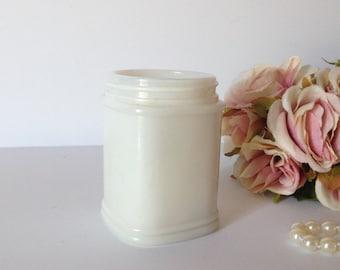 VINTAGE MILKGLASS JAR,  Old Vanity jar by Watkins, Milk Glass Jar for ointments, thick Milk glass Jar, Vintage Vanity decor