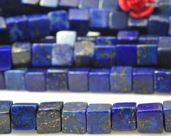 15 inches of Dyed Natural Lapis Lazuli  smooth square beads in 4x4mm