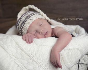 Newborn knit whimsical knotty top beanie hat 100% wool