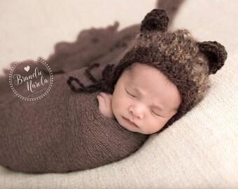 Newborn knit mohair blend bonnet with bear ears