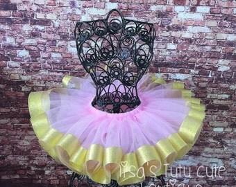 Pink and gold ribbon trimmed tutu. Birthday tutu. Party tutu. Pink and gold tutu .cake smash, cake smash tutu