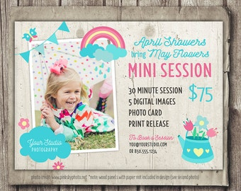 Spring Photography Template - Mini Session - Spring April Showers May Flowers Minis Marketing - Marketing Board - INSTANT DOWNLOAD PSD