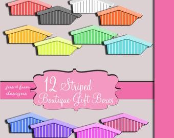 Striped Shop Boutique Boxes Store Boxes Scrapbook Digital Embellishments Elements Clip Art Graphics Set