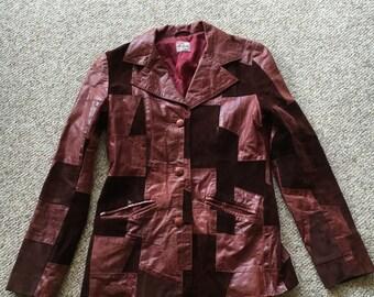 Vintage 60's 70's LEVIS casuals Patchwork Burgundy Red Bovine Leather Festival Hippie Disco Boho Jacket Size Medium