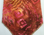 High Vibe: Cotton Batik Stash Pocket Bandana in Red, Yellow, Brown Green