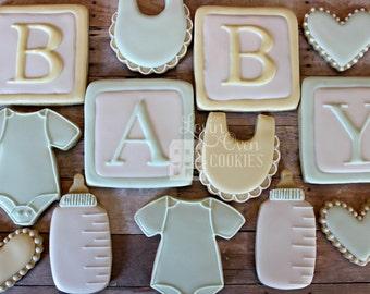 Baby Shower Decorated Sugar Cookie - Shower favor / Baby Bib / Baby Bottle