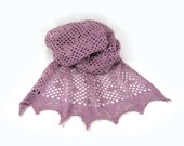 Dusky Pink Lace Knitted Wrap or Scarf