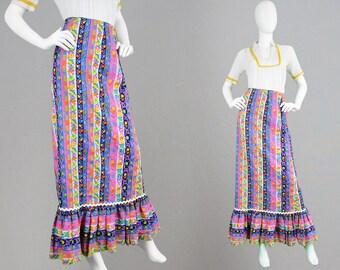 Vintage 70s Maxi Skirt Women Boho Skirt Textured Cotton Skirt Psychedelic Print Bright Floral Skirt Flounce Hem Ankle Length Vertical Stripe