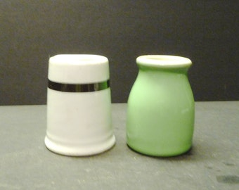 Two vintage restaurant pottery creamers - one Hall one Carr
