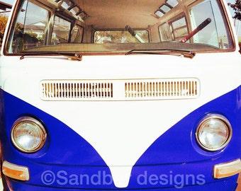 4 x 4 photo card-Bonnets of blue VW bus