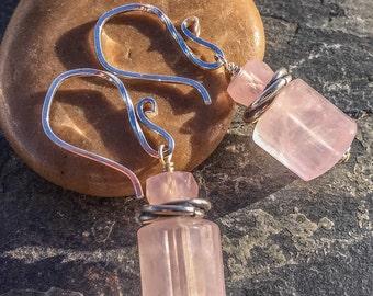 Pink rose quartz earrings in sterling silver