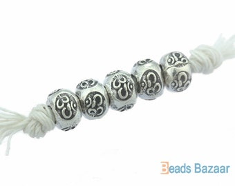 Karen Hill Tribe silver OM Printed Hallow Ball Bead, 5.5 mm