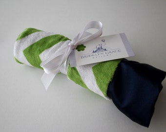 Mini Minky Blanket - Lovies - Lovey - for Baby Boy or Girl - Nautical,  Navy and Green and White Chevron, Embossed, Satin