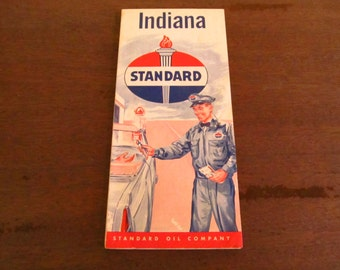 Vintage 1950's Standard Oil Company - Standard Oil State Map - Standard Oil Indiana Map