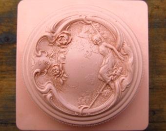 Vintage White Shoulders Powder Box and Original Puff - White Shoulders by Envyan