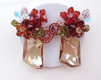 Bronze earrings ,Stud earrings ,Glamorous Jewelry ,Brown Jewelry ,copper  jewelry ,Statement earrings , chunky earrings.