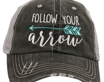 Follow Your Arrow Mint Blue Teal Turquoise Grey Black Trucker Ball Cap