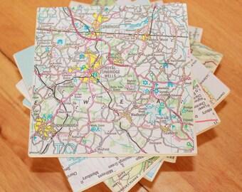 6 World Map Coasters,Ceramic Coaster,6 Coasters,Map Coasters,Upcycle Map,Coaster Set,6 Coasters,Personalised Map Coasters,Customised Maps