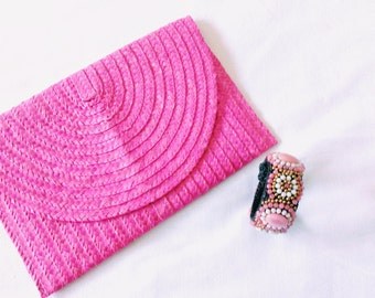 Cute Pink Summer Straw Boho Clutch, Straw Purse, Pink Party Clutch, Straw Clutch, Bridal Purse, Wedding Clutch Bag, Bridesmaids Gift Clutch