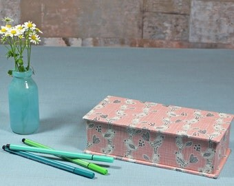 pencil box, back to school, school supplies,  school enrollment, gift box for pens, desk, apricot pens box, pens box, apricot grey retro