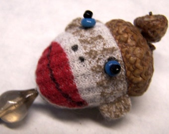 Cute As Can Be Sock Monkey Sewing Needle Emery/Pin Cushion with Acorn Cap - SM3