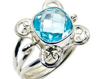Blue Topaz & .925 Sterling Silver Ring Size 7.5 , Y469