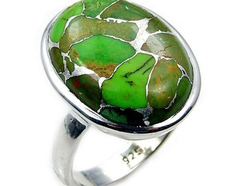 Lime Mohave Turquoise Ring & .925 Sterling Silver Ring Size 8 3/4 ,  Z257