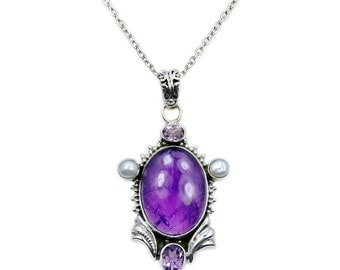 Amethyst Pearl & .925 Sterling Silver Necklace Pendant , AC903